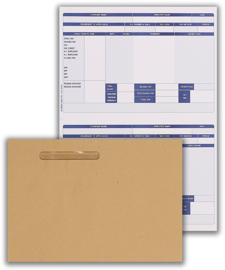 Inkjet/Laser Payslip & Wage Envelope - 250 Payslips + 250 Envelopes